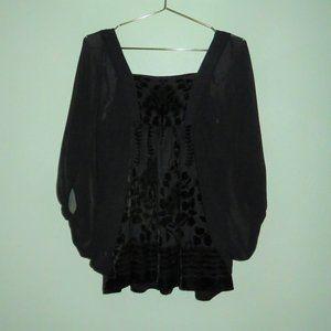 H&M Black Floral Velvet Batwing Sleeve Blouse Top
